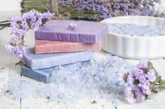 自然肥皂、淡紫色、盐在一个木板,卫生学项目浴的和温泉 库存照片