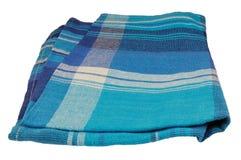 自然胡麻餐巾纹理,蓝色织地不很细毛巾纺织品样式细节大详细的垂直隔绝了亚麻制宏观特写镜头 免版税库存照片
