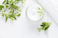 自然草本与花skincare产品的温泉化妆卫生奶油 库存图片