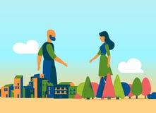 自然遇见都市社会 向量例证