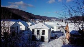 自然雪地标美妙跟踪 免版税库存图片