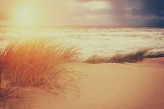 自然风景、风暴在海和沙丘,自然秀丽  免版税库存图片