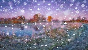 自然风景与第一冬天雪的 早期的冬天 大雪花在冷淡的草落在河附近 免版税库存照片
