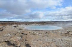 自然风景的出色的意见在有喷泉的冰岛 免版税库存图片
