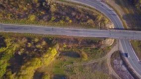自然 在高速公路的飞行在森林附近 影视素材