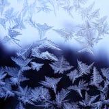自然-在玻璃的冰纹理  免版税库存图片
