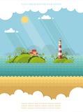 自然-暑假 热带海岛的海洋 Lighthou 免版税库存图片