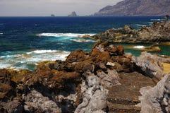 自然水池查科Los Sargos,耶罗岛,金丝雀,西班牙 库存照片