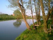自然水河,海岸kolubara 免版税库存照片