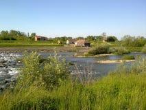 自然水河kolubara海岸磨房 免版税库存照片