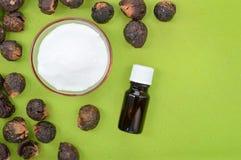 自然洗涤剂肥皂坚果和发面苏打 免版税库存图片