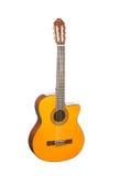 自然黄色木古典声学吉他 免版税库存图片