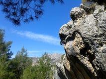 自然 蓝天、岩石、杉树和山 免版税图库摄影