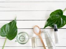 自然skincare产品、芳香疗法油和盐 免版税库存照片