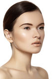 自然skincare秀丽,干净的软的皮肤 免版税库存照片