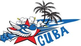 自由和自由标志-蓝色古巴鸟,红色星,花, 免版税库存照片