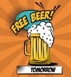 自由啤酒流行艺术 向量例证