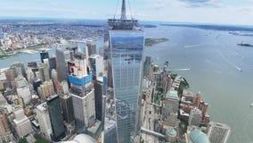 自由塔和更低的曼哈顿纽约鸟瞰图  股票视频