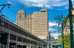 自由大厦的看法在水牛城- NY,美国 在1925年修造在新古典主义的样式 免版税库存图片