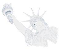 自由女神像、墨水和水彩绘画艺术设计  7月四日庆祝的美国设计 美国符号 库存图片