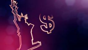 自由女神像的美元的符号和象征 光亮微粒财务背景  3D与深度的圈动画 库存例证