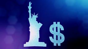 自由女神像的美元的符号和象征 光亮微粒财务背景  3D与深度的圈动画 股票视频