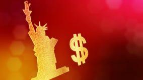 自由女神像的美元的符号和象征 光亮微粒财务背景  3D与深度的圈动画 向量例证