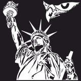 自由女神像,衬衣的,徽章,商标单色图形设计 免版税库存照片