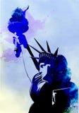 自由女神像水彩绘画传染媒介 库存照片