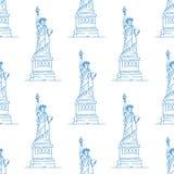 自由女神象无缝的样式 免版税库存照片