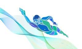 自由式游泳者剪影 体育游泳 向量例证