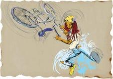 自由式窍门-自行车-女孩 免版税库存照片