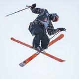 自由式滑雪世界杯在大空气米兰期间的实践天 免版税库存图片