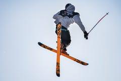 自由式滑雪世界杯在大空气米兰期间的实践天 免版税库存照片