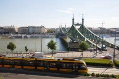 自由桥梁、多瑙河和观点的虫布达佩斯 免版税库存照片