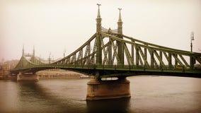 自由桥梁在布达佩斯,匈牙利(有薄雾的早晨) 免版税图库摄影