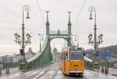 自由桥梁或自由桥梁和电车在布达佩斯 免版税库存图片