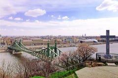 自由桥梁的顶视图天 库存照片