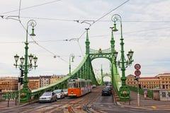 自由桥梁(绿色桥梁)在布达佩斯 免版税库存图片