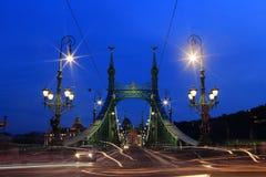 自由桥梁(绿色)在布达佩斯在晚上,匈牙利 库存照片
