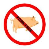 自由猪肉符号文本 免版税库存照片