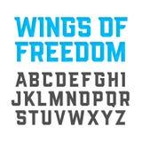 自由现代样式字体翼  免版税库存照片