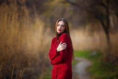 自由的愉快的少妇 有长的健康头发的美丽的女性享受太阳光的在公园在日落 春天,秋天 库存照片