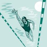 自由的样式游泳者 免版税库存图片