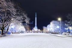 自由纪念碑在里加在冬天晚上 库存图片