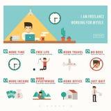 自由职业者横幅和infographic 免版税库存图片