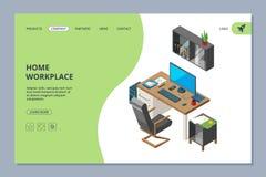 自由职业者的着陆 艺术家和程序员专家的Coworking空间运作传染媒介网页设计模板 皇族释放例证