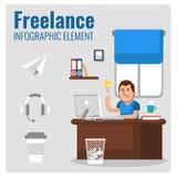 自由职业者的Infographic元素 重点玻璃宏观人工作 免版税库存照片