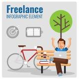 自由职业者的Infographic元素 重点玻璃宏观人工作 图库摄影