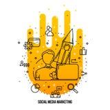 自由职业者SMM专家的专家 被设置的社会媒介营销概念离子 库存图片